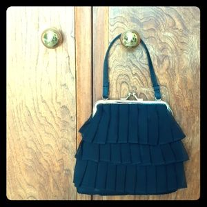 Black Pleated Target Evening Bag